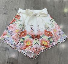 Zimmermann Bellitude Floral Belted Linen Shorts Size 1