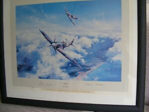 Collectable Spitfire print signed by Douglas Bader and Johnnie Johnson
