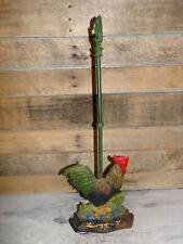 """Vintage Cast Iron Rooster Doorstop w Tall Handle 25"""" FARMHOUSE COUNTRY DECOR"""
