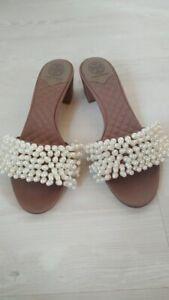 Tory Burch Tatiana Pearl Embellished Block Heel Quilted Beige Slide Size us 8