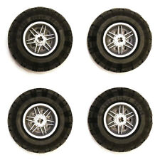 Lego Technic Set of 4 Chunky Black Tyres Tires Silver Wheels Hubs 56x26mm - NEW
