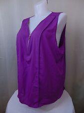 Calvin Klein Plus Size Sleeveless Half-Zip Pleated Top 3X Tulip Purple #1986