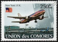 New York JFK Airport & American Airlines Boeing 737 Airliner Aircraft Stamp