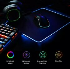 Tappetino mouse Gaming LED RGB. LEDs Mouse Pad.35x25cm nuovo 14 effetti+ cavoUSB