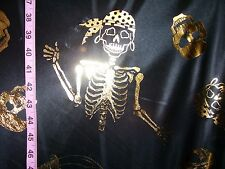 Black Polyester Fabric with Gold Skulls, Pirate Skeletons & Swords - By the Yard