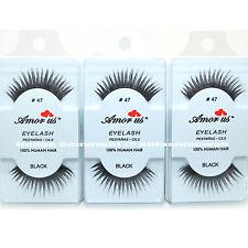 3 Pairs AmorUs 100% Human Hair False Eyelashes # 47 compare Red Cherry