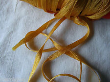 MERCERIE ANCIENNE RUBAN TRESSE lacet jaune orangé  1,50X5MM☺RUBBON