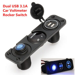Universal 12V Voltmeter Blue LED Dual USB 3.1A Car Charger Rocker Switch Panel