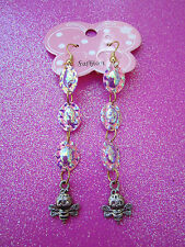 Turtle Back Sequin Earrings With Bee Dangles