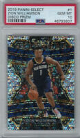2019-20 Panini Select Zion Williamson RC Silver Disco Prizm PSA 10 GEM MT