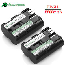 2 x 2200mAh BP-511A Battery for Canon EOS 20D 30D 40D 50D 5D BP-512 BP-511