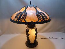 Rare Antique Slag Glass Panel Art Nouveau Lamp with Lighted Base Handel B&H Era