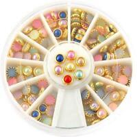 120pcs 3D Nail Art Tips Pearls Studs Glitter Rhinestone DIY Decoration Wheel Lot