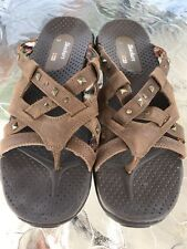 Skechers 10 Reggae Leather Studded Sandals Euc Flip Flips