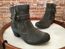 Earth Origins Dk Olive Green Grey Suede Water Repellent Tori Heel Ankle Boot New