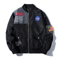 Winter Men Bomber Jacket Heron Head MA1 NASA Military Flight Pilot Jacket Coats