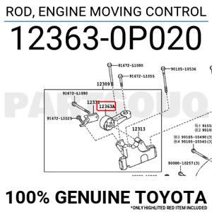 123630P020 Genuine Toyota ROD, ENGINE MOVING CONTROL 12363-0P020
