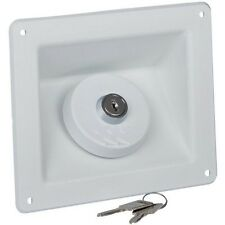 Fresh Water 40mm Filler Square Recessed Locking Inlet 2 keys White - Motorhome