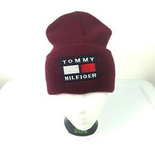 VTG Tommy Hilfiger Embroidered Beanie Stitched Flag Logo Spell Out 90s Maroon BL