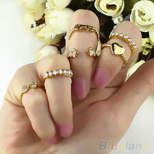 6pcs Amazing Bow Heart Crystal Rhinestone Midi Band Ring Set For Lady Women Girl