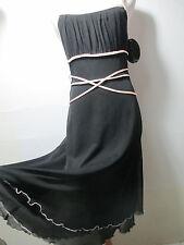 womens dress MEDIUM M black and pink MY MICHELLE sleeveless tea midi below knee