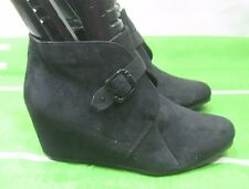 "Black 3"" Hidden High Wedge Heel Round Toe Sexy Ankle Boots Size 5.5"