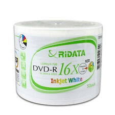 50 16X Ridata Brand White Inkjet HUB Printable DVD-R DVDR Blank Disc Media 4.7GB