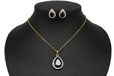 Fashion Cubic Zirconia Black Pear Designer Pendant Necklace Set 24P M1 /13 19
