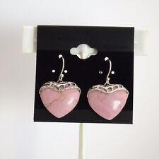 Beautiful Sterling Silver - 31.0CTW - Heart Shape Rhodonite Earrings