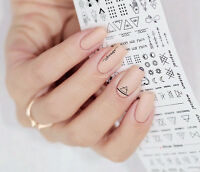 2Sheets Nail Water Decals  Nail Art Transfer Stickers Letter Design DIY