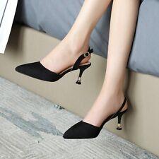 4 Farben 48/49/50 Pumps Slouch Stiletto Damenschuhe Slingback Spitz High Heels L