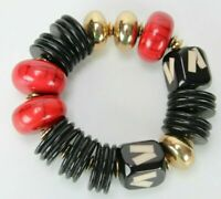 "Vintage Bracelet Chunky Beads Gold & Red & Black Tones 2.5"" + Stretch"
