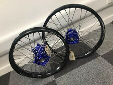 SM Sport Kawasaki Wheels Gloss Black Rims Blue Hubs KX450F 2013 2014 2015 2016