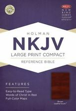 NKJV Large Print Compact Reference Bible, Brown LeatherTouch (2013, Imitation...
