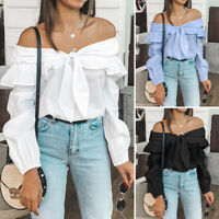 Plus Size Women Bardot Tie Bow Tops Long Sleeve Off Shoulder Ruffle Blouse Shirt