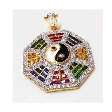 Multi Sapphire Color Yin Yang Amulet 18K 22K Yellow Gold Plated CZ Thai Pendant