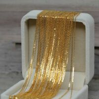 Authentic 18k Yellow Gold Necklace Women Pretty Shining O Link Chain 40-70cmL
