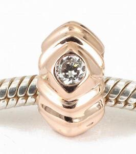 9CT 9K SOLID ROSE GOLD BEAD wth 3 Sparkling CZ For Charm Bracelet / Necklace AUS