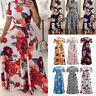 Women Summer Boho Floral Print Short Sleeve Long Maxi Dress Party Beach Sundress