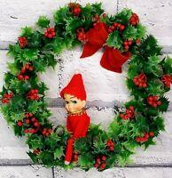 Vintage Elf Holly Wreath McM 50s Felt Pixie Shelf Sitter Ornament Decoration