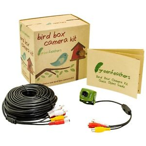 Green Feathers Wired Bird Box Camera  with Night Vision & 20-metre Cable