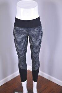 Lululemon Pace Rival Crop Full-On Luxtreme Stripe Play Slate Black Women's 2