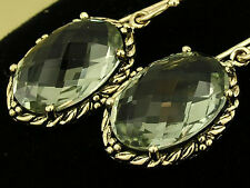 s CE473 SUPERB Genuine 9K Yellow Gold NATURAL oval Green AMETHYST Drop Earrings