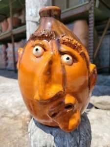 Rare Orange Face Jug with Tobacco Spit Glaze by Billy Joe Craven