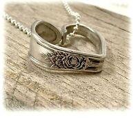 Vtg '33 Rosedale Rose Heart Silverplate Pendant Spoon Jewelry Bead Link Necklace