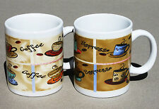 Pair of Alco COFFEE MUGS Coffee & Espresso Design - Cups 10 oz. each - NEW