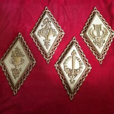 Vintage Set of 4 Homco Plaques Ornate Wall Hangings 1971 Plastic Diamond Shape
