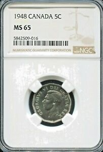 CANADA  - SPECTACULAR GEORGE VI 5 CENTS, 1948, KM# 42, NGC GRADED MS 65