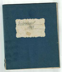 Historische Militär-Handschrift - Wehrdienst 1888 Wehrpflicht Militaria