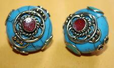 Tibetan beads Tibet beads Handmade Turquoise beads Nepal 2 Nepalese Beads B810